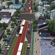 A rendering of the long-term vision showing Blue Hill Ave with protected bike lanes, center running bus lanes, and enhanced pedestrian safety